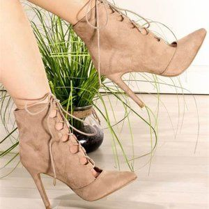 Heeled Laceup Bootie Pumps Points Tan M-Suede 8